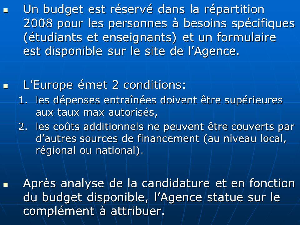 Un budget est réservé dans la répartition 2008 pour les personnes à besoins spécifiques (étudiants et enseignants) et un formulaire est disponible sur