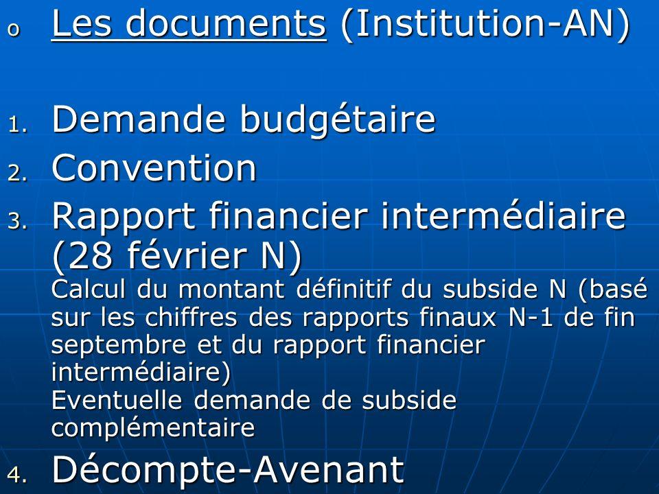 o Les documents (Institution-AN) 1. Demande budgétaire 2. Convention 3. Rapport financier intermédiaire (28 février N) Calcul du montant définitif du