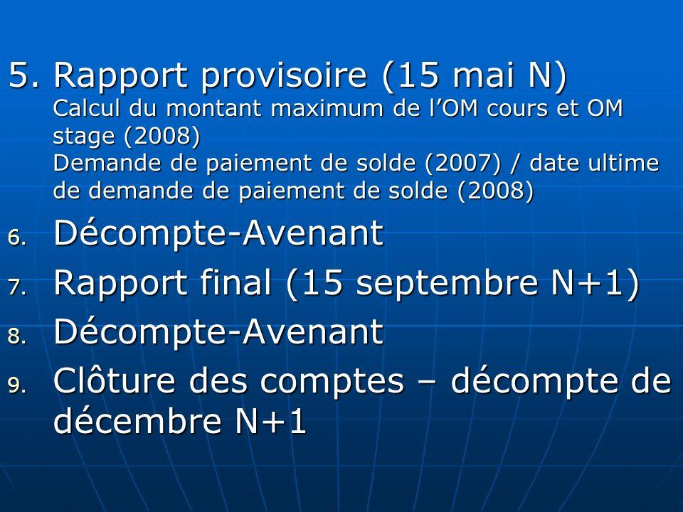 5.Rapport provisoire (15 mai N) Calcul du montant maximum de lOM cours et OM stage (2008) Demande de paiement de solde (2007) / date ultime de demande
