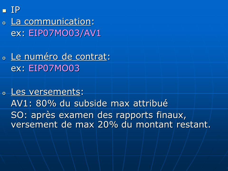 IP IP o La communication: ex: EIP07MO03/AV1 ex: EIP07MO03/AV1 o Le numéro de contrat: ex: EIP07MO03 o Les versements: AV1: 80% du subside max attribué