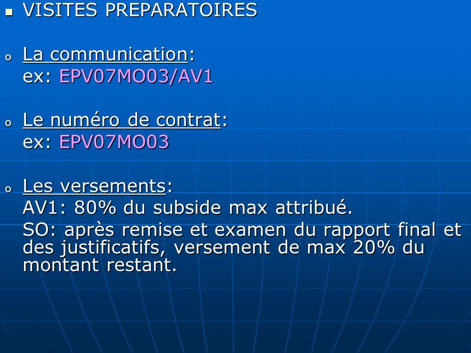 VISITES PREPARATOIRES VISITES PREPARATOIRES o La communication: ex: EPV07MO03/AV1 o Le numéro de contrat: ex: EPV07MO03 o Les versements: AV1: 80% du