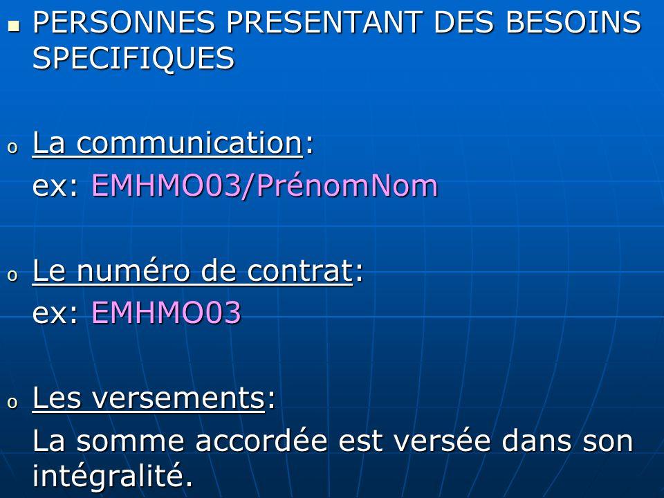 PERSONNES PRESENTANT DES BESOINS SPECIFIQUES PERSONNES PRESENTANT DES BESOINS SPECIFIQUES o La communication: ex: EMHMO03/PrénomNom o Le numéro de con