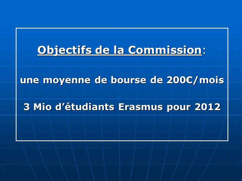 Objectifs de la Commission: une moyenne de bourse de 200/mois 3 Mio détudiants Erasmus pour 2012