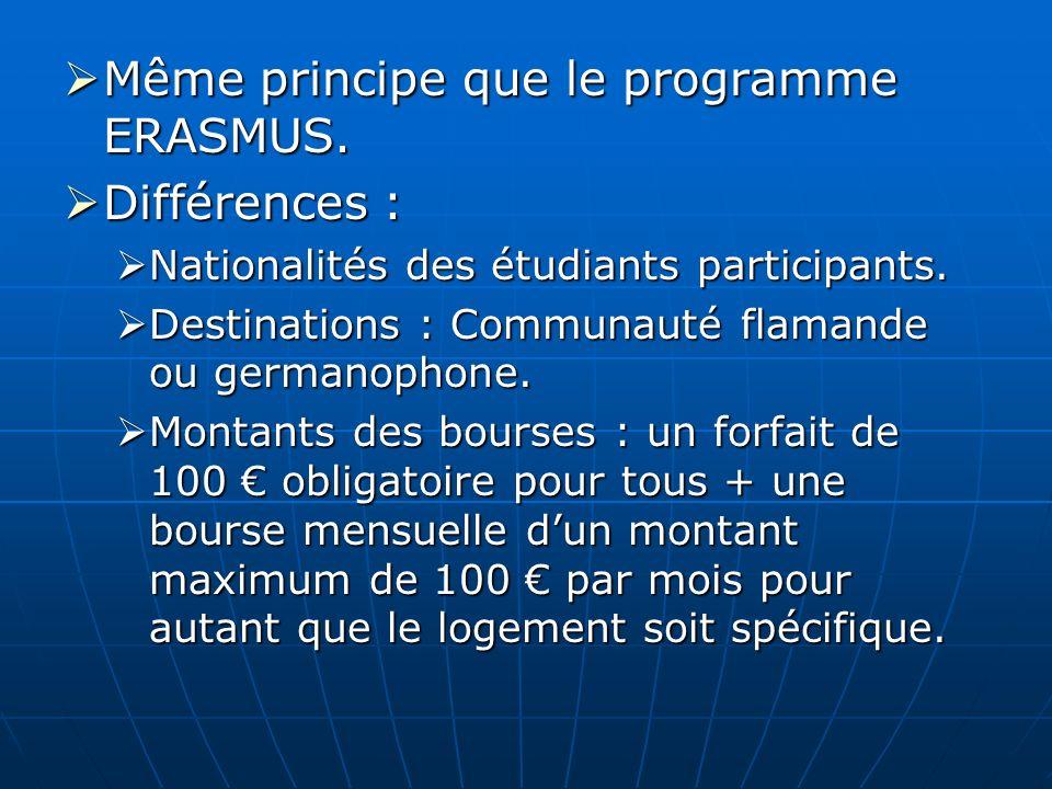 Même principe que le programme ERASMUS. Même principe que le programme ERASMUS. Différences : Différences : Nationalités des étudiants participants. N