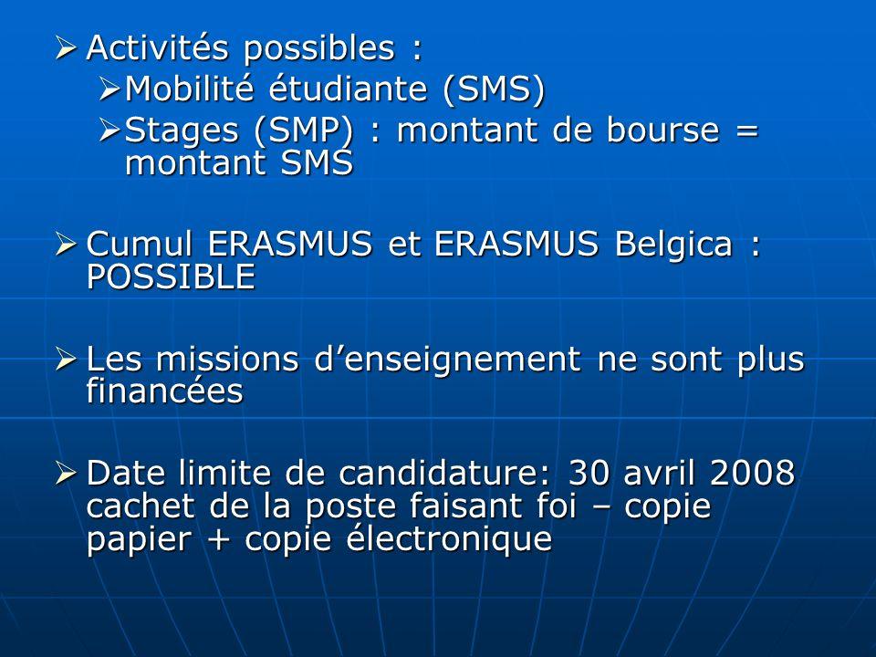 Activités possibles : Activités possibles : Mobilité étudiante (SMS) Mobilité étudiante (SMS) Stages (SMP) : montant de bourse = montant SMS Stages (S