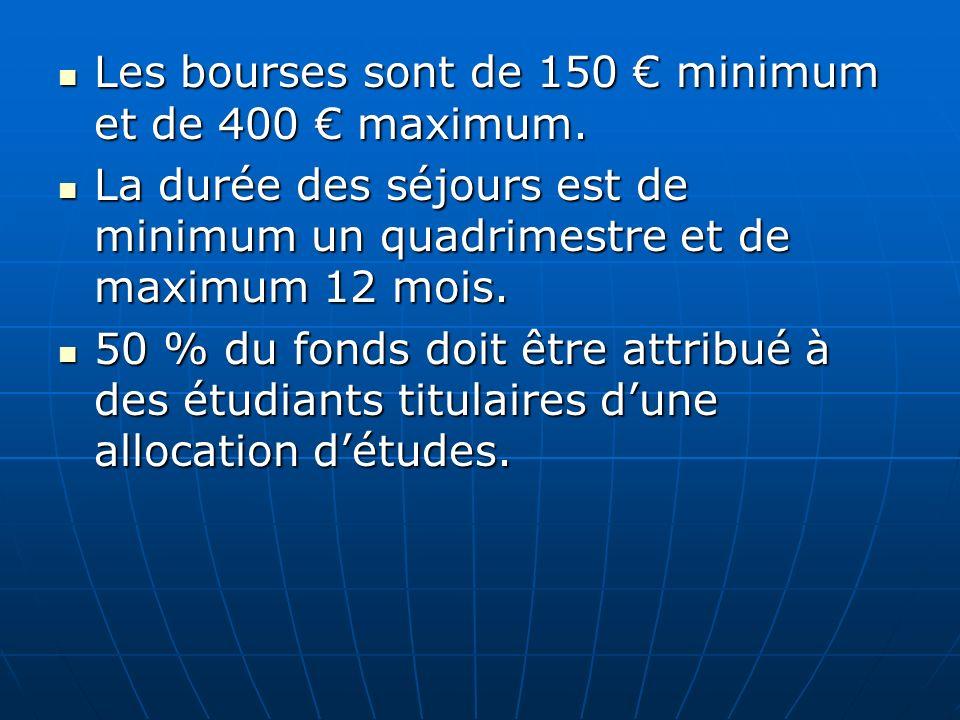 Les bourses sont de 150 minimum et de 400 maximum. Les bourses sont de 150 minimum et de 400 maximum. La durée des séjours est de minimum un quadrimes