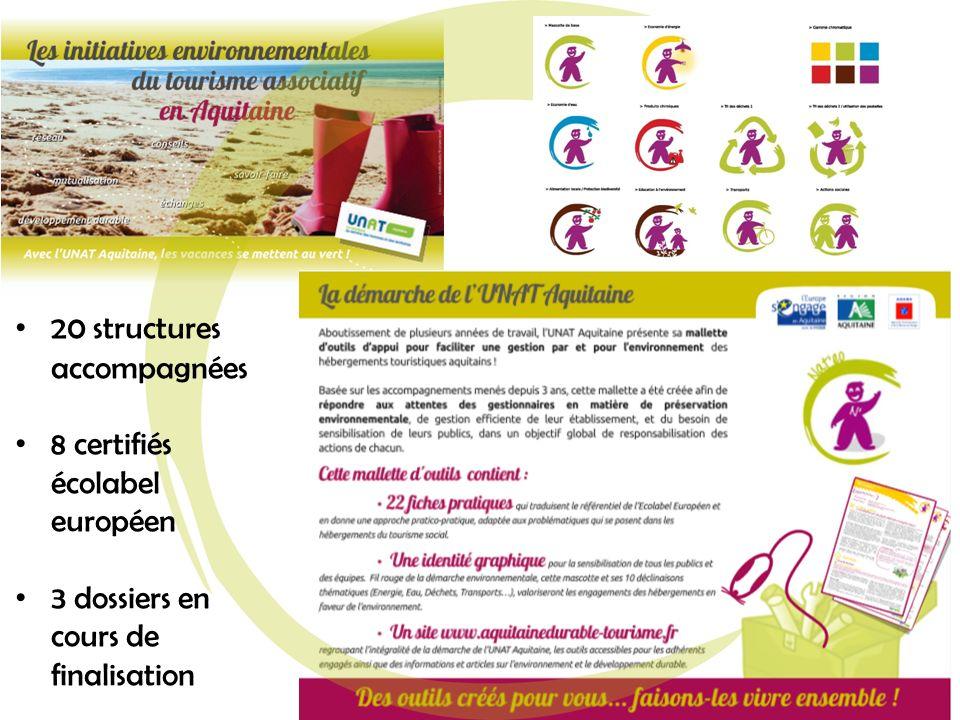 20 structures accompagnées 8 certifiés écolabel européen 3 dossiers en cours de finalisation