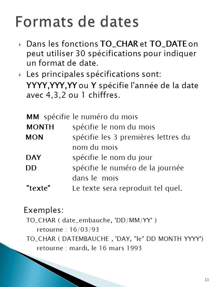 Dans les fonctions TO_CHAR et TO_DATE on peut utiliser 30 spécifications pour indiquer un format de date.