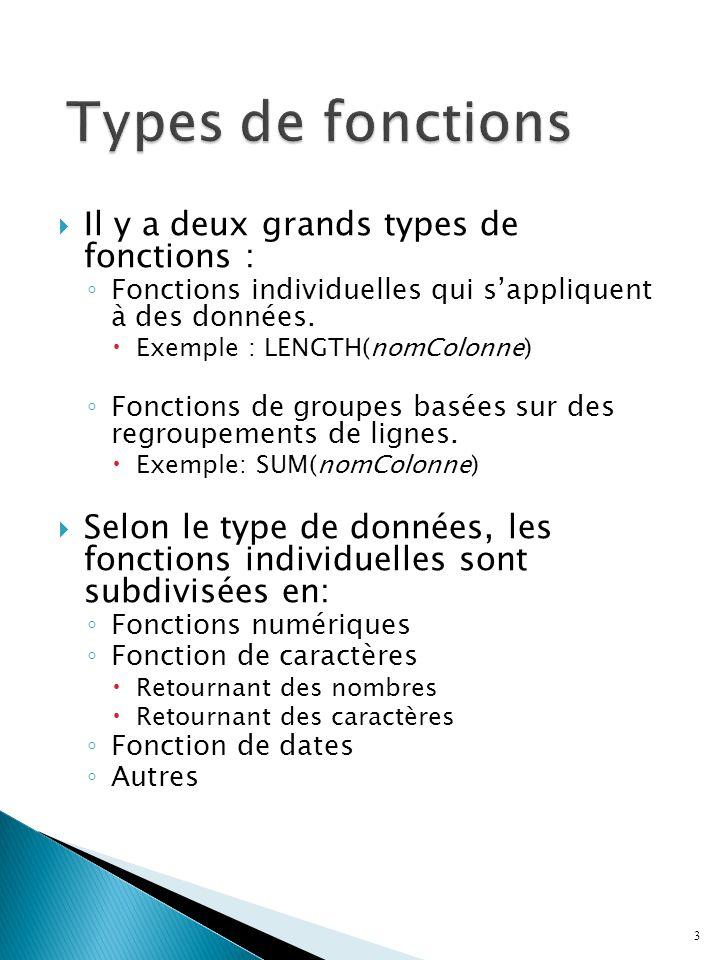 Il y a deux grands types de fonctions : Fonctions individuelles qui sappliquent à des données.