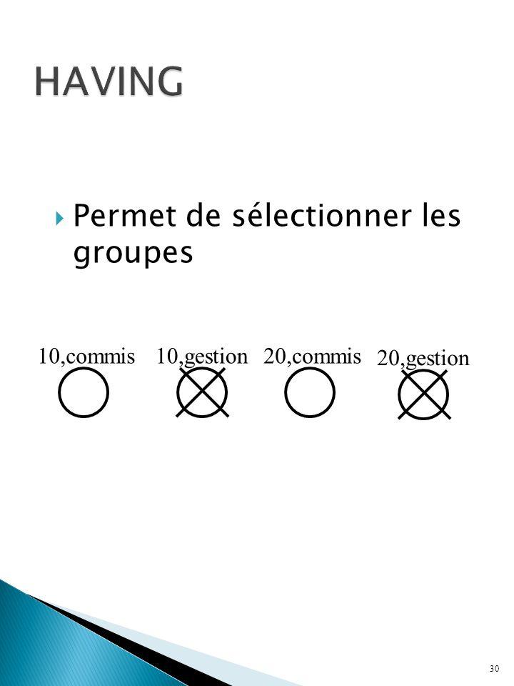 Permet de sélectionner les groupes 30 10,commis10,gestion20,commis 20,gestion