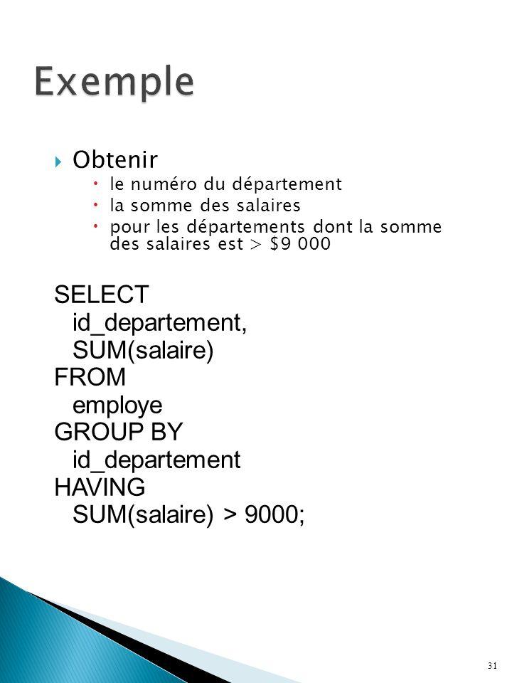 Obtenir le numéro du département la somme des salaires pour les départements dont la somme des salaires est > $9 000 SELECT id_departement, SUM(salaire) FROM employe GROUP BY id_departement HAVING SUM(salaire) > 9000; 31