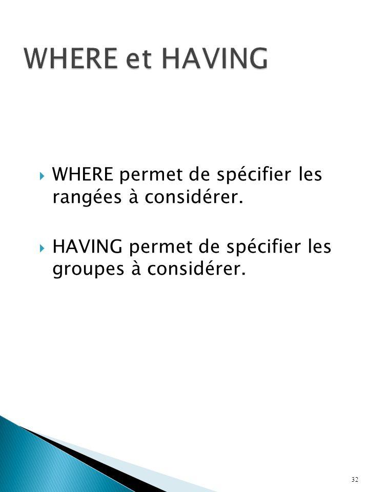 WHERE permet de spécifier les rangées à considérer.