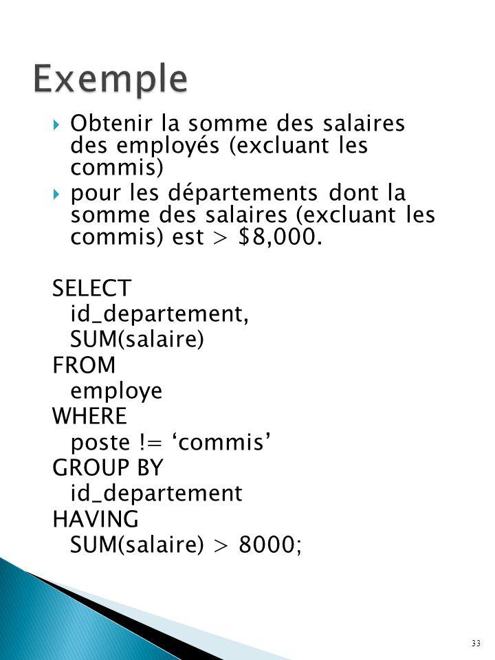 Obtenir la somme des salaires des employés (excluant les commis) pour les départements dont la somme des salaires (excluant les commis) est > $8,000.