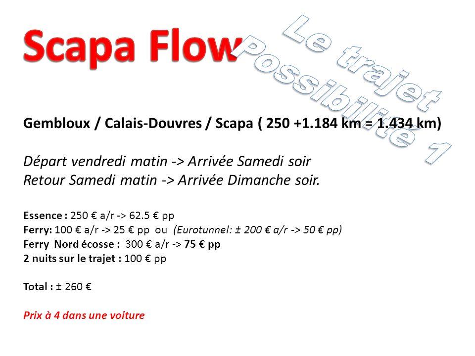 Gembloux / Calais-Douvres / Scapa ( 250 +1.184 km = 1.434 km) Départ vendredi matin -> Arrivée Samedi soir Retour Samedi matin -> Arrivée Dimanche soir.
