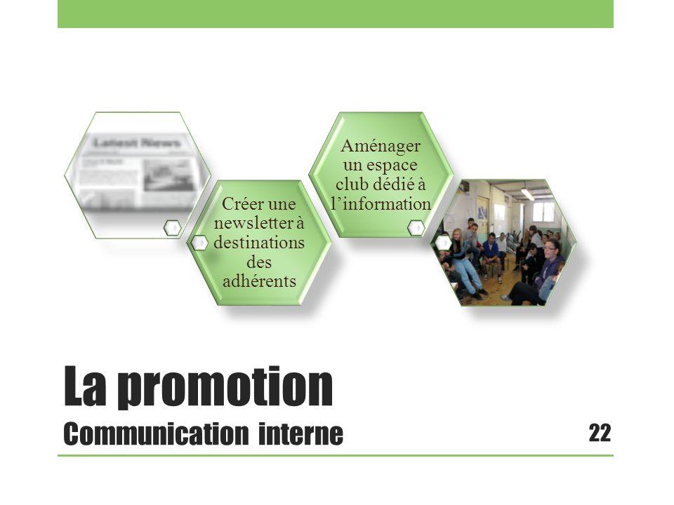 La promotion Communication interne 22 Créer une newsletter à destinations des adhérents Aménager un espace club dédié à linformation