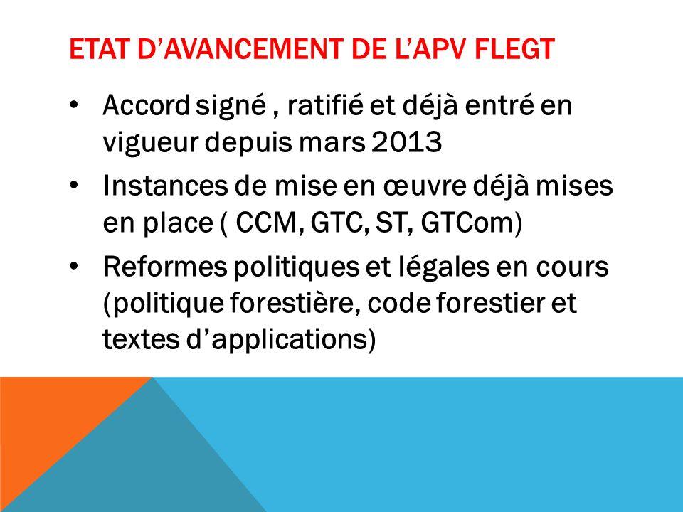 ETAT DAVANCEMENT DE LAPV FLEGT Accord signé, ratifié et déjà entré en vigueur depuis mars 2013 Instances de mise en œuvre déjà mises en place ( CCM, GTC, ST, GTCom) Reformes politiques et légales en cours (politique forestière, code forestier et textes dapplications)
