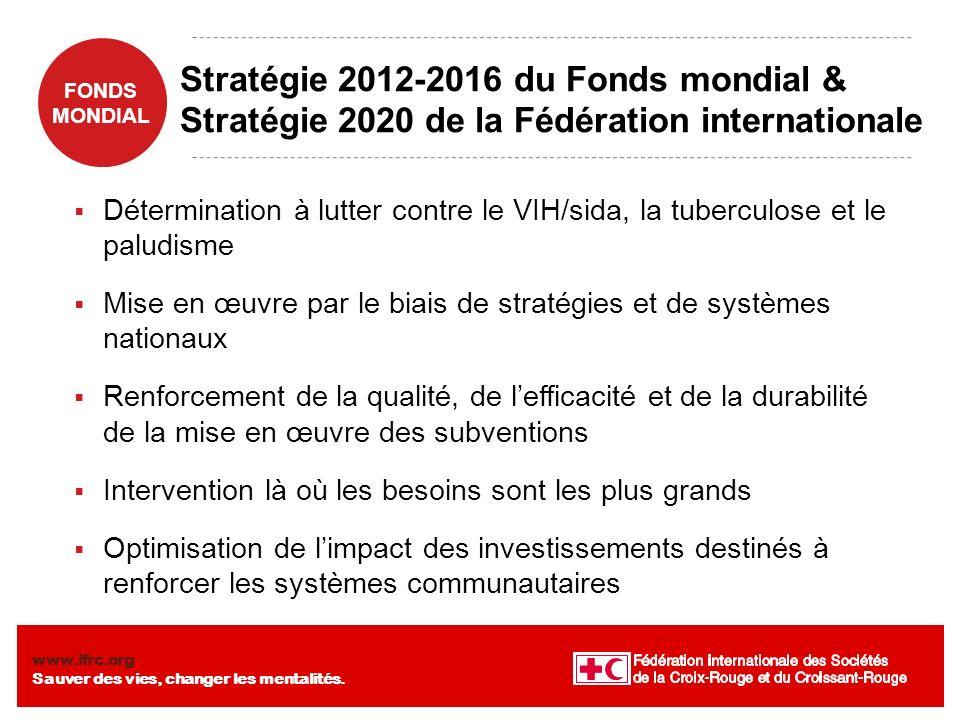 FONDS MONDIAL www.ifrc.org Sauver des vies, changer les mentalités. Stratégie 2012-2016 du Fonds mondial & Stratégie 2020 de la Fédération internation