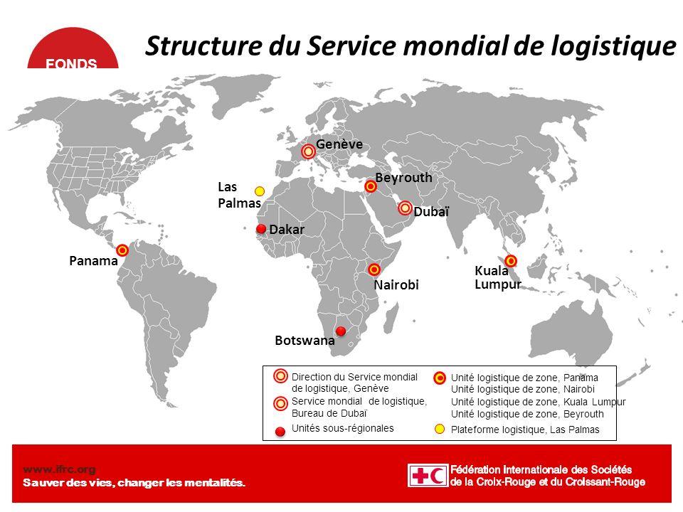 FONDS MONDIAL www.ifrc.org Sauver des vies, changer les mentalités. Structure du Service mondial de logistique Genève Beyrouth Dubaï Kuala Lumpur Pana