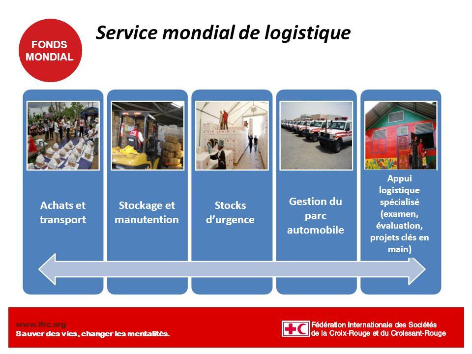 FONDS MONDIAL www.ifrc.org Sauver des vies, changer les mentalités. Service mondial de logistique Achats et transport Stockage et manutention Stocks d