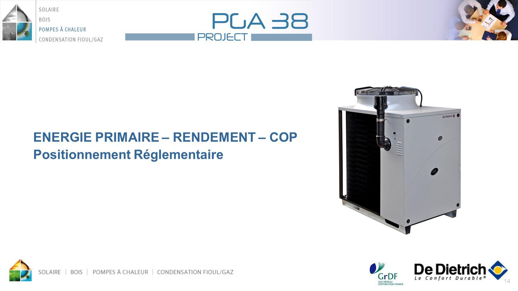 14 ENERGIE PRIMAIRE – RENDEMENT – COP Positionnement Réglementaire