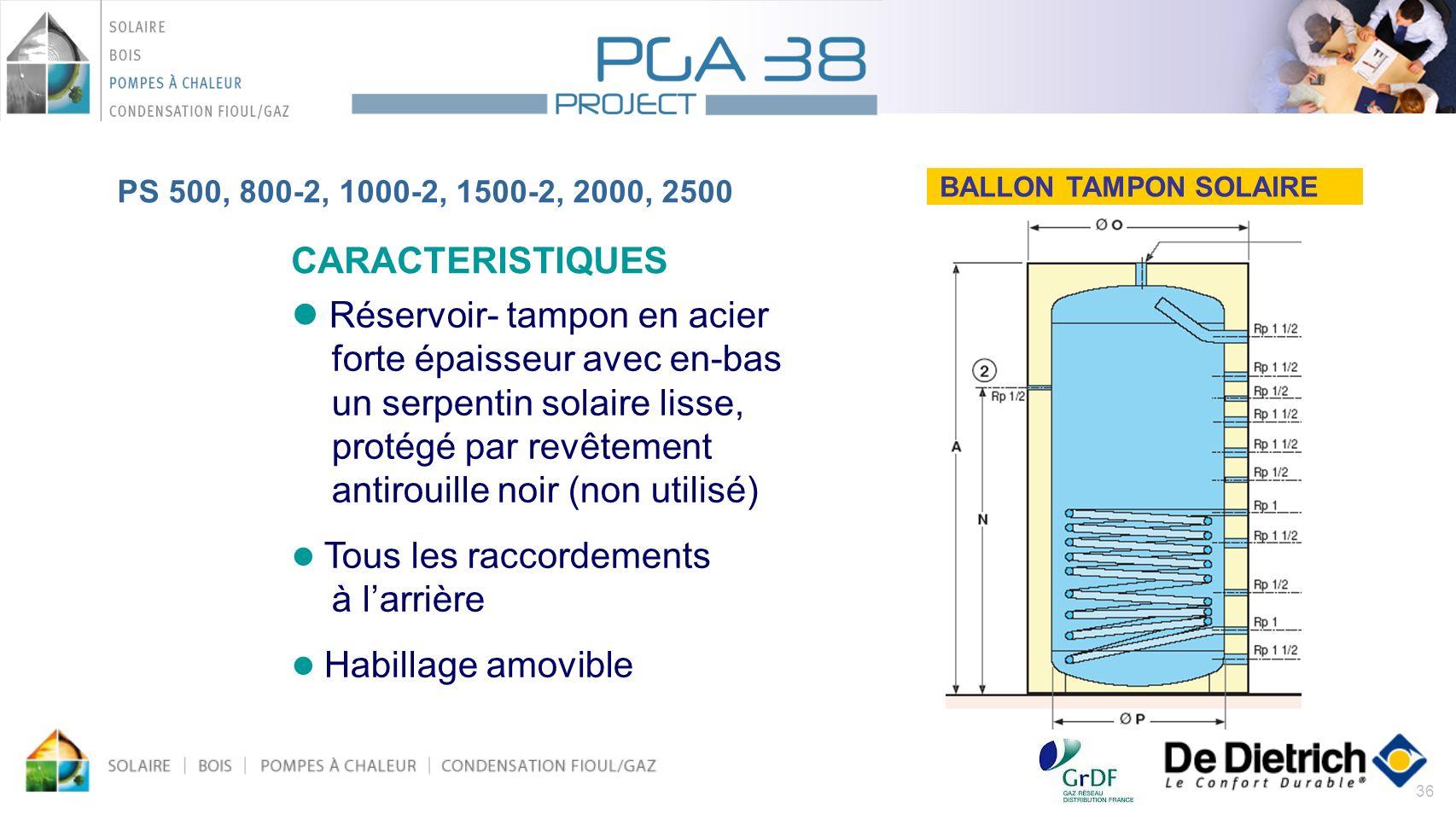 36 BALLON TAMPON SOLAIRE CARACTERISTIQUES Réservoir- tampon en acier forte épaisseur avec en-bas un serpentin solaire lisse, protégé par revêtement an