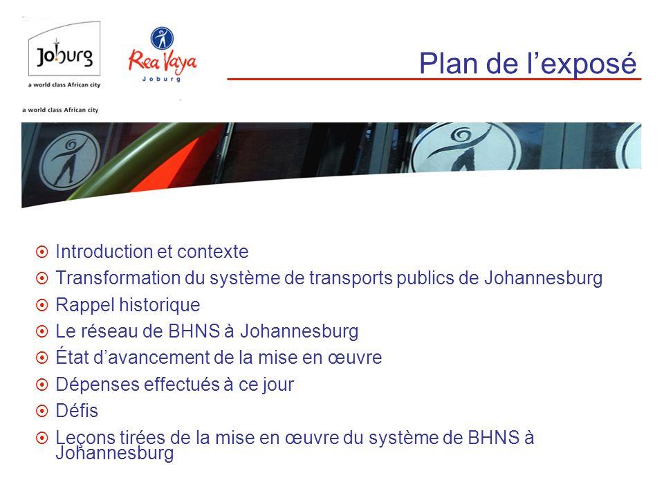 Plan de lexposé Introduction et contexte Transformation du système de transports publics de Johannesburg Rappel historique Le réseau de BHNS à Johanne