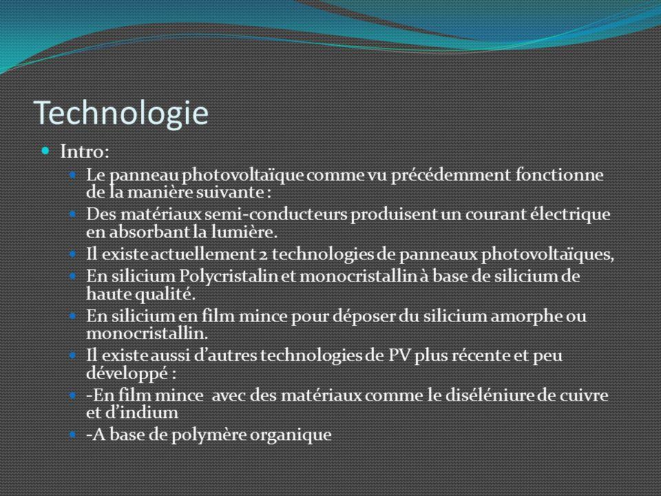 Technologie Intro: Le panneau photovoltaïque comme vu précédemment fonctionne de la manière suivante : Des matériaux semi-conducteurs produisent un co