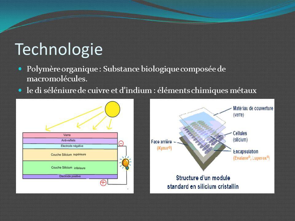 Technologie Polymère organique : Substance biologique composée de macromolécules. le di séléniure de cuivre et dindium : éléments chimiques métaux