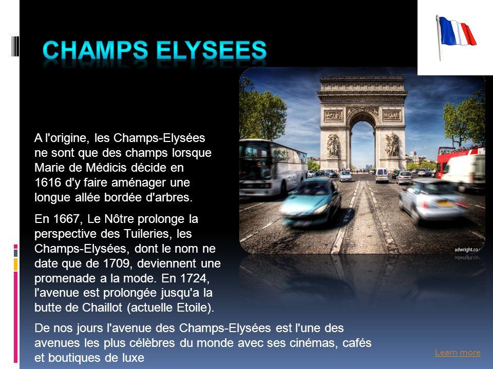 Learn more A l'origine, les Champs-Elysées ne sont que des champs lorsque Marie de Médicis décide en 1616 d'y faire aménager une longue allée bordée d