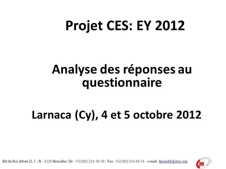 Projet CES: EY 2012 Analyse des réponses au questionnaire Larnaca (Cy), 4 et 5 octobre 2012 1 Bd du Roi Albert II, 5 - B - 1210 Bruxelles Tel: +32/(0)2/224 04 50 - Fax: +32/(0)2/224 04 54 - e-mail: hlourdel@etuc.orghlourdel@etuc.org