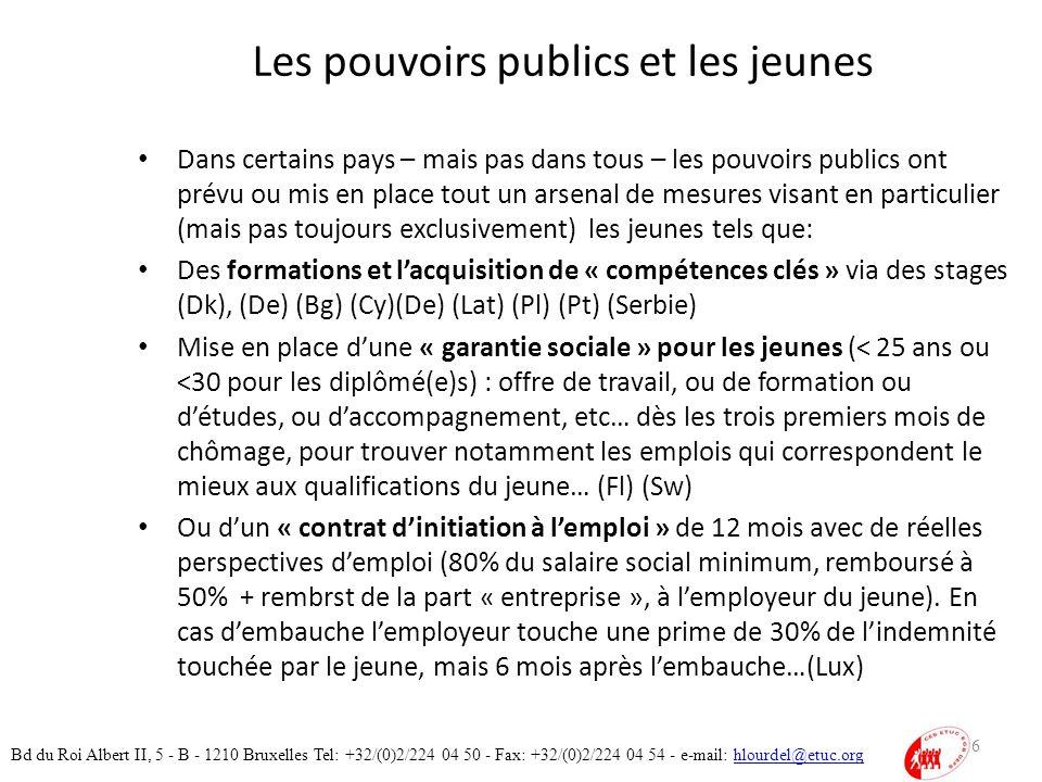 Les pouvoirs publics et les jeunes Dans certains pays – mais pas dans tous – les pouvoirs publics ont prévu ou mis en place tout un arsenal de mesures visant en particulier (mais pas toujours exclusivement) les jeunes tels que: Des formations et lacquisition de « compétences clés » via des stages (Dk), (De) (Bg) (Cy)(De) (Lat) (Pl) (Pt) (Serbie) Mise en place dune « garantie sociale » pour les jeunes (< 25 ans ou <30 pour les diplômé(e)s) : offre de travail, ou de formation ou détudes, ou daccompagnement, etc… dès les trois premiers mois de chômage, pour trouver notamment les emplois qui correspondent le mieux aux qualifications du jeune… (Fl) (Sw) Ou dun « contrat dinitiation à lemploi » de 12 mois avec de réelles perspectives demploi (80% du salaire social minimum, remboursé à 50% + rembrst de la part « entreprise », à lemployeur du jeune).