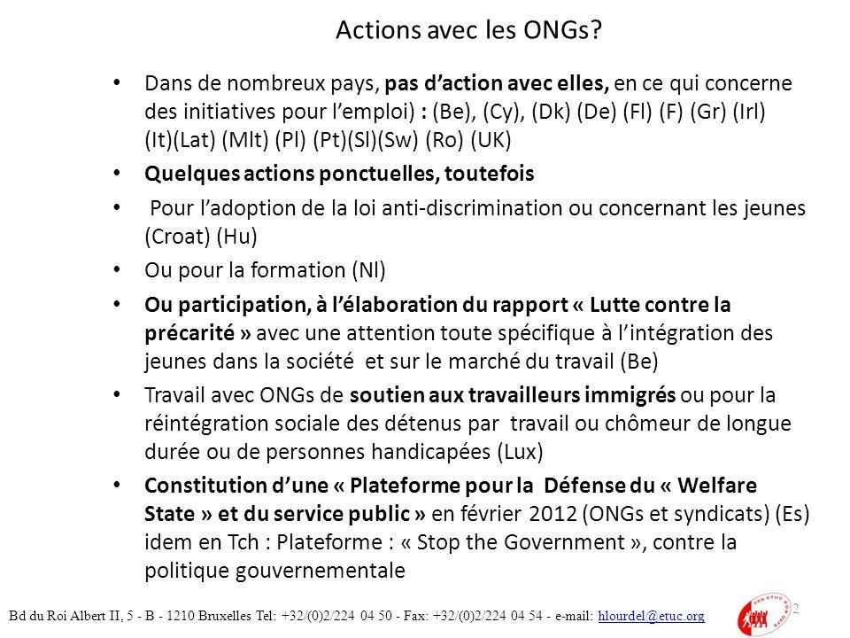 Actions avec les ONGs.