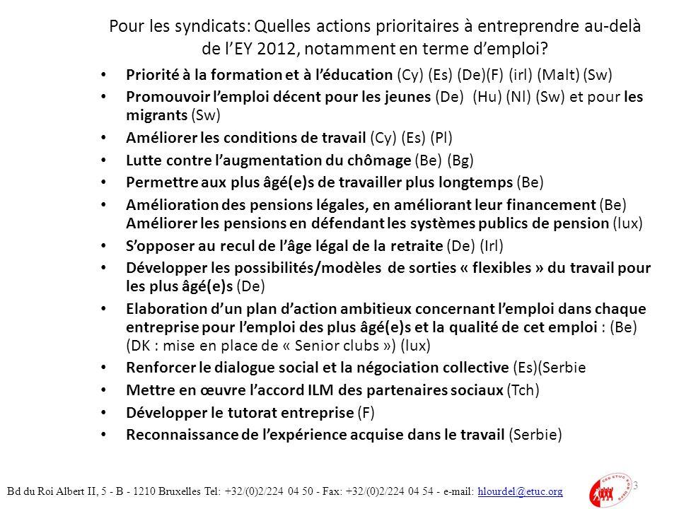 Pour les syndicats: Quelles actions prioritaires à entreprendre au-delà de lEY 2012, notamment en terme demploi.