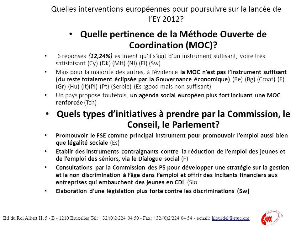Quelles interventions européennes pour poursuivre sur la lancée de lEY 2012.