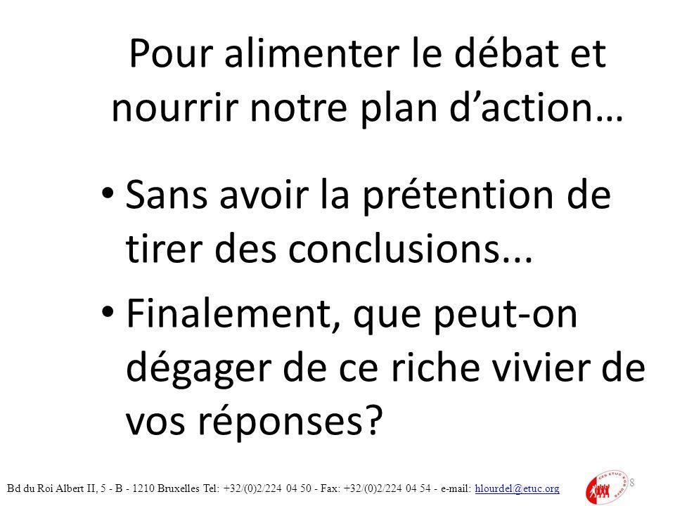 Pour alimenter le débat et nourrir notre plan daction… Sans avoir la prétention de tirer des conclusions...