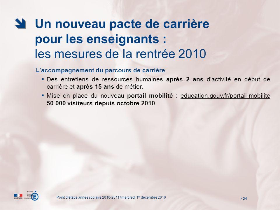 Un nouveau pacte de carrière pour les enseignants : les mesures de la rentrée 2010 Laccompagnement du parcours de carrière Des entretiens de ressources humaines après 2 ans d activité en début de carrière et après 15 ans de métier.