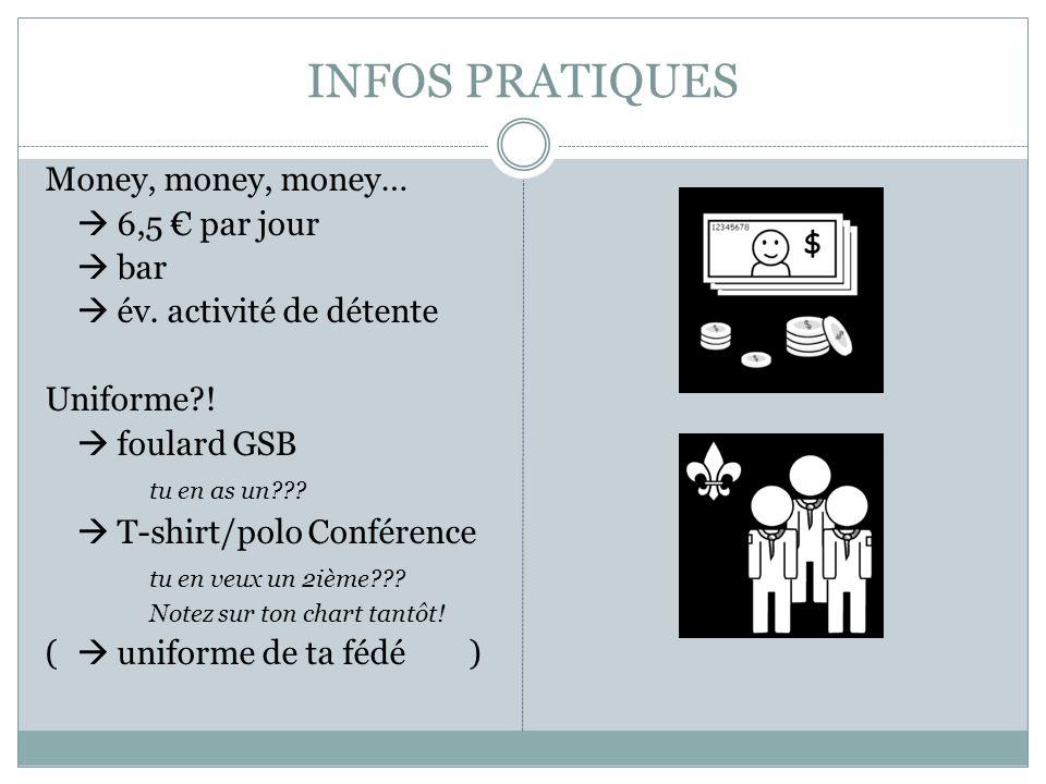INFOS PRATIQUES Money, money, money… 6,5 par jour bar év.