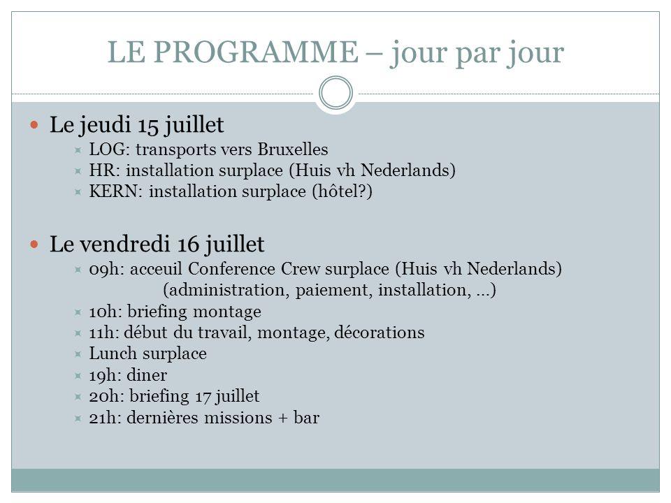 LE PROGRAMME – jour par jour Le jeudi 15 juillet LOG: transports vers Bruxelles HR: installation surplace (Huis vh Nederlands) KERN: installation surp
