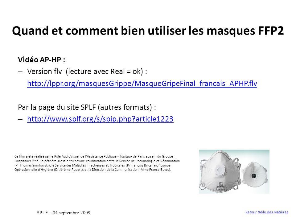 Vidéo AP-HP : – Version flv (lecture avec Real = ok) : http://lppr.org/masquesGrippe/MasqueGripeFinal_francais_APHP.flv Par la page du site SPLF (autr