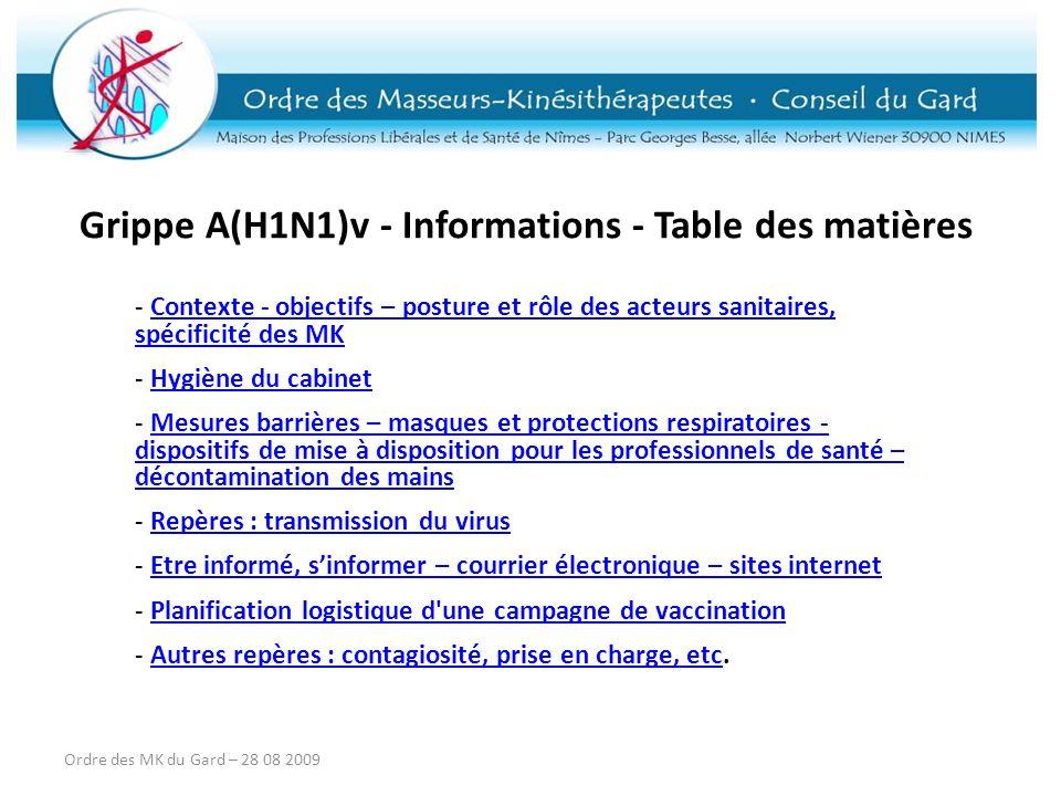 Grippe A(H1N1)v - Informations - Table des matières - Contexte - objectifs – posture et rôle des acteurs sanitaires, spécificité des MKContexte - obje