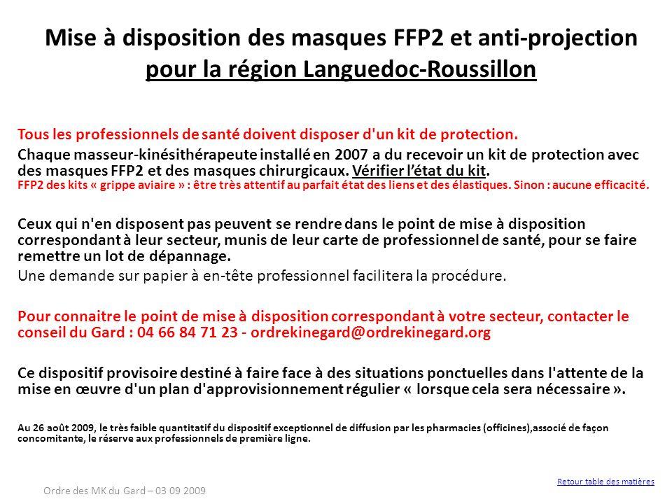 Mise à disposition des masques FFP2 et anti-projection pour la région Languedoc-Roussillon Tous les professionnels de santé doivent disposer d'un kit
