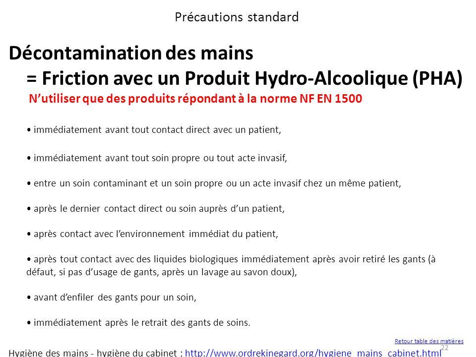 22 Précautions standard Décontamination des mains = Friction avec un Produit Hydro-Alcoolique (PHA) Nutiliser que des produits répondant à la norme NF