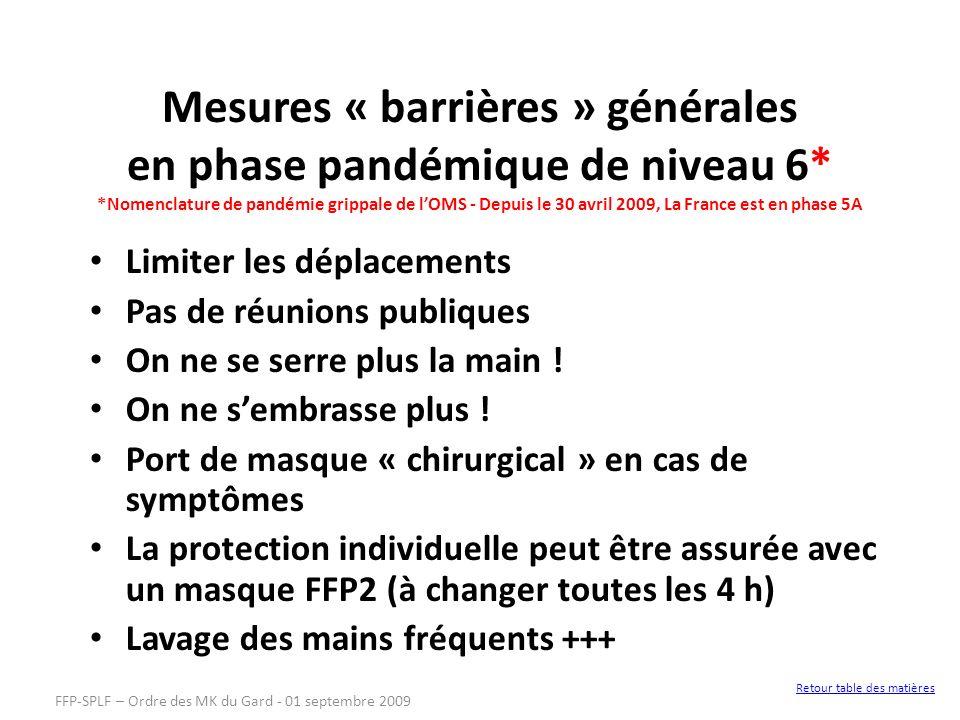 Mesures « barrières » générales en phase pandémique de niveau 6* *Nomenclature de pandémie grippale de lOMS - Depuis le 30 avril 2009, La France est e