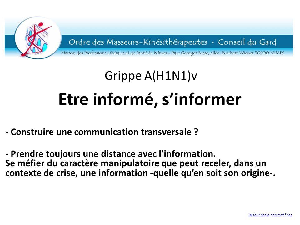 Grippe A(H1N1)v Etre informé, sinformer - Construire une communication transversale ? - Prendre toujours une distance avec linformation. Se méfier du