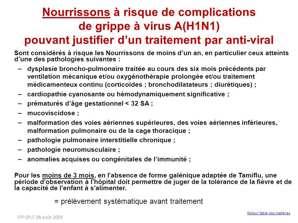 Sont considérés à risque les Nourrissons de moins dun an, en particulier ceux atteints dune des pathologies suivantes : –dysplasie broncho-pulmonaire