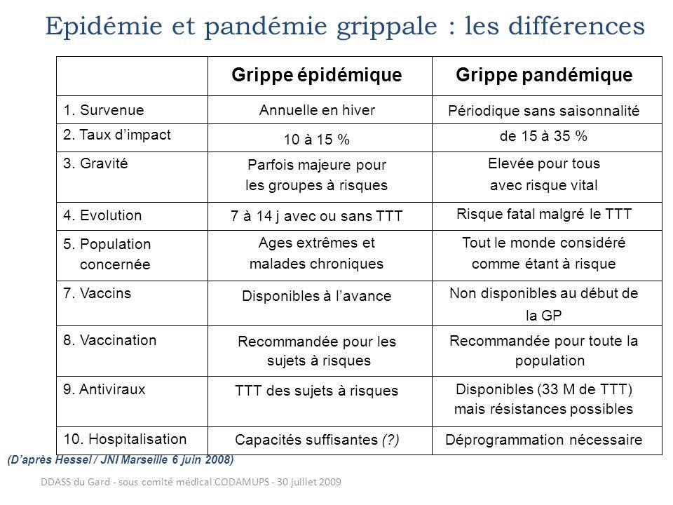 DDASS du Gard - sous comité médical CODAMUPS - 30 juillet 2009 Epidémie et pandémie grippale : les différences (Daprès Hessel / JNI Marseille 6 juin 2
