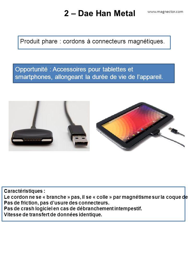 2 – Dae Han Metal Produit phare : cordons à connecteurs magnétiques. Opportunité : Accessoires pour tablettes et smartphones, allongeant la durée de v