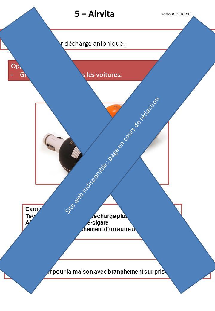 5 – Airvita Produit phare : Purificateur d'air par décharge anionique. Opportunité : -Grande efficacité dans les voitures. www.airvita.net Autres prod