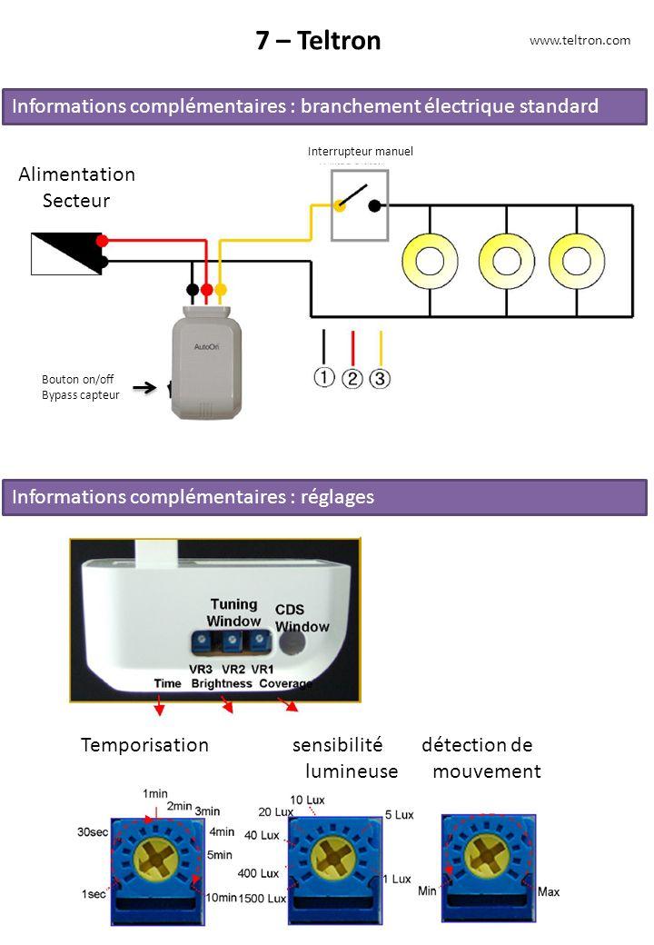 7 – Teltron www.teltron.com Informations complémentaires : branchement électrique standard Alimentation Secteur Interrupteur manuel Bouton on/off Bypa