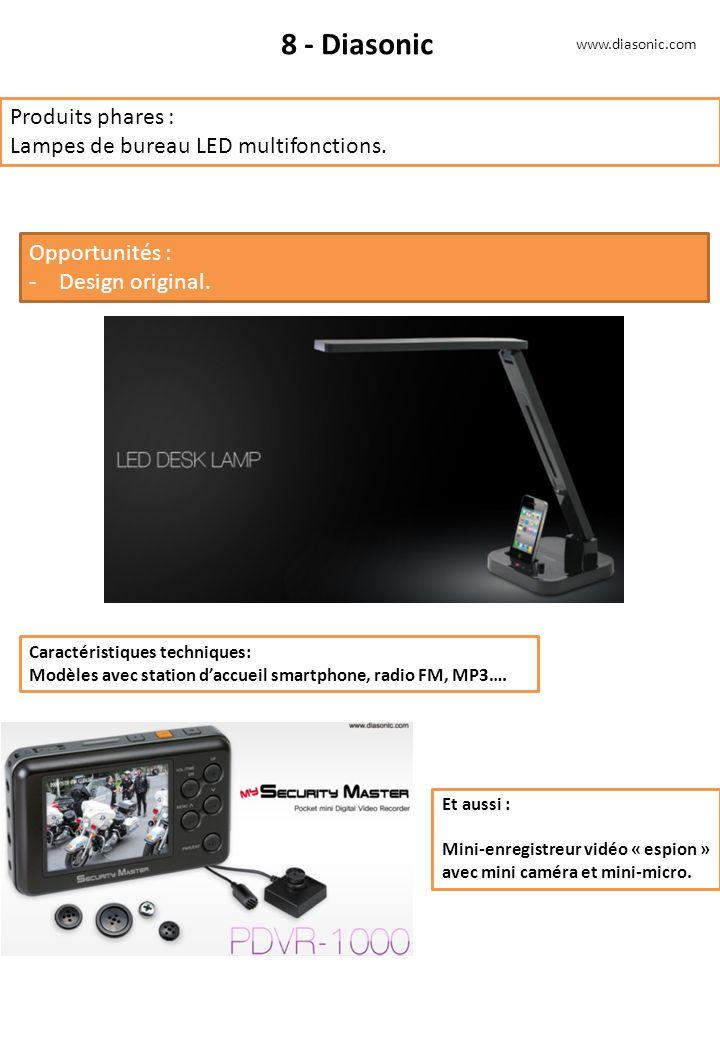 8 - Diasonic Produits phares : Lampes de bureau LED multifonctions. Opportunités : -Design original. Caractéristiques techniques: Modèles avec station